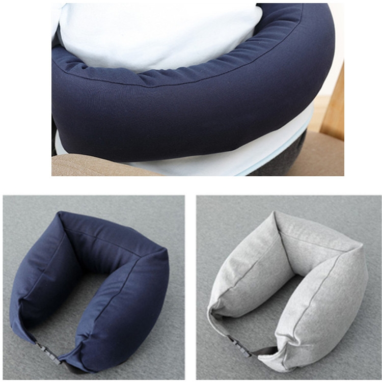 Portable Airplane Travel U-shaped Hooded Pillow Nap Time Neck Pillow (Navy Blue)