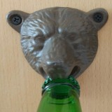2 PCS Bear Head Cast Iron Wall Corkscrew Metal Antique Beer Corkscrew (Brown)