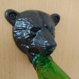2 PCS Bear Head Cast Iron Wall Corkscrew Metal Antique Beer Corkscrew (Black)