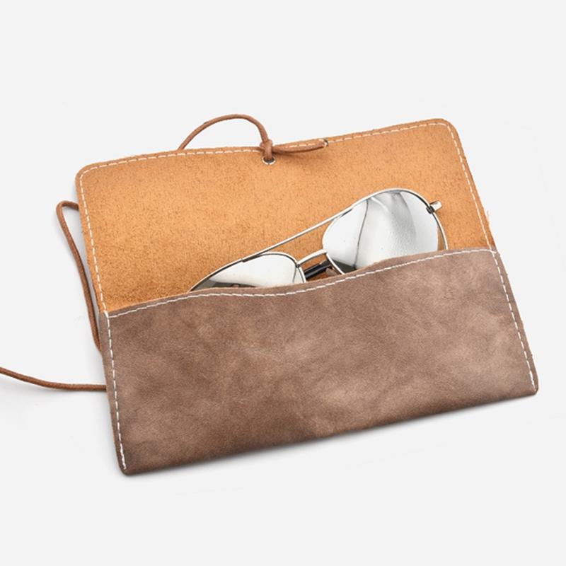 Retro Leather Sunglasses Case Handmade Soft Eyeglasses Protector Bag (Light Coffee)