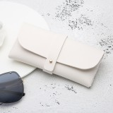 Fashion Portable Glasses Case Magnetic PU Leather Foldable Glasses Box for Eyeglass Oversize Sunglasses (White)