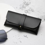 Fashion Portable Glasses Case Magnetic PU Leather Foldable Glasses Box for Eyeglass Oversize Sunglasses (Black)