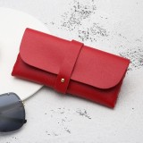Fashion Portable Glasses Case Magnetic PU Leather Foldable Glasses Box for Eyeglass Oversize Sunglasses (Red)