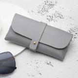 Fashion Portable Glasses Case Magnetic PU Leather Foldable Glasses Box for Eyeglass Oversize Sunglasses (Gray)