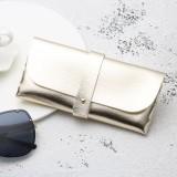 Fashion Portable Glasses Case Magnetic PU Leather Foldable Glasses Box for Eyeglass Oversize Sunglasses (Gold)