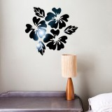 2 Sets Flower Pattern Wall Sticker Home Decor 3D Wall Decal Art DIY Mirror Wall Stickers Living Room Decoration (Black)