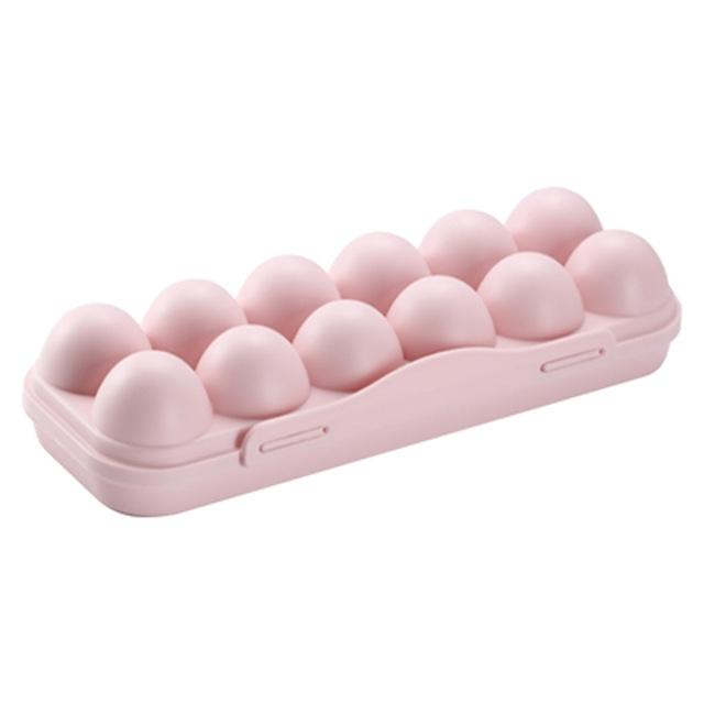 2 PCS 12-Box With Snap-On Egg Storage Box (Pink)