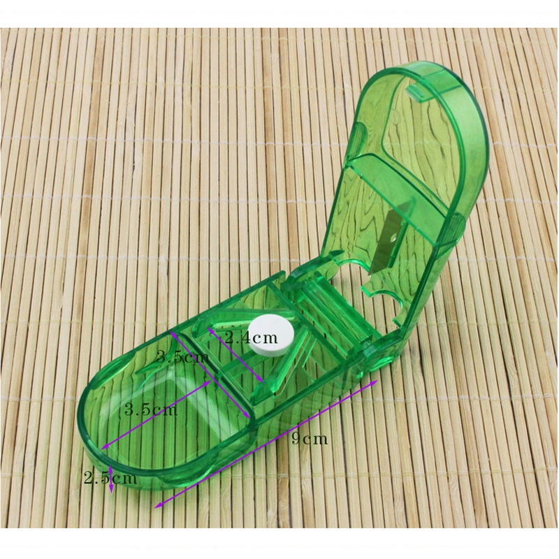2 PCS Rectangular Plastic Medicine Cutter Storage Pill Box (Green)