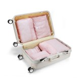 7 in 1 Packing Cube Travel Storage Bags Unisex Portable Large Capacity Clothing Cosmetics Sorting Pouch Organizer (Pink)