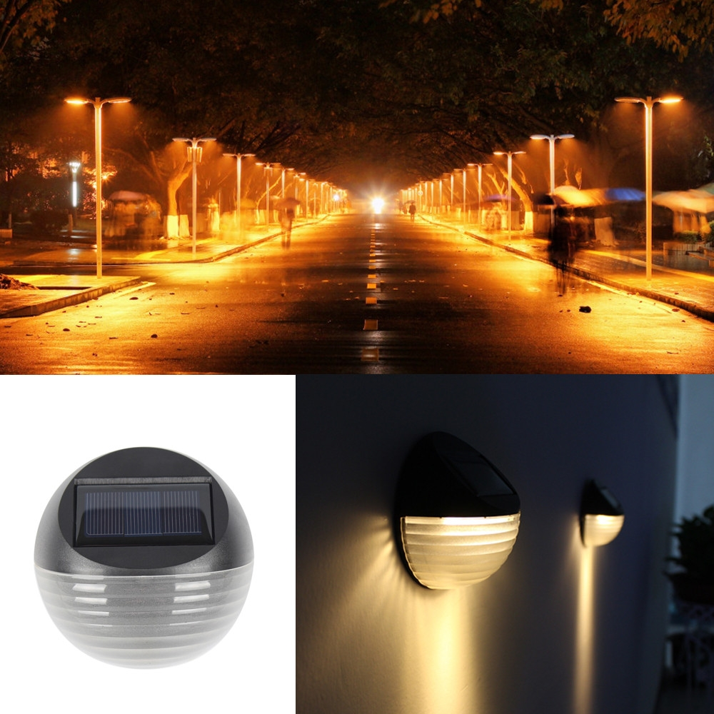 2 PCS Solar Power Light Sensor 6 Energy Saving Lamp LED Wall Light Outdoor Garden Fence Waterproof Lamp Night Light (Warm White)
