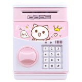 Simulation Cartoon ATM Password Safe Automatic Money Roller with Music Coin Piggy Bank (Cute Cat)