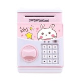 Simulation Cartoon ATM Password Safe Automatic Money Roller with Music Coin Piggy Bank (Good Night Rabbit)