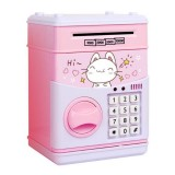 Simulation Cartoon ATM Password Safe Automatic Money Roller with Music Coin Piggy Bank (Happy Cat)