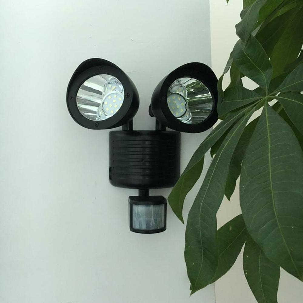 6W 22 LEDs Solar Powered Double Heads Body Sensor IP55 Waterproof Outdoor LED Wall Light