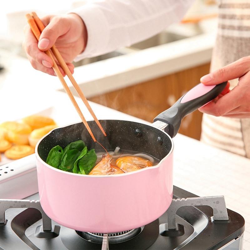 Mini Milk Pan Not-Sticky Heating Pot Portable Soup Pot Metal Flat-Bottomed Multifunction Egg Soup Noodles