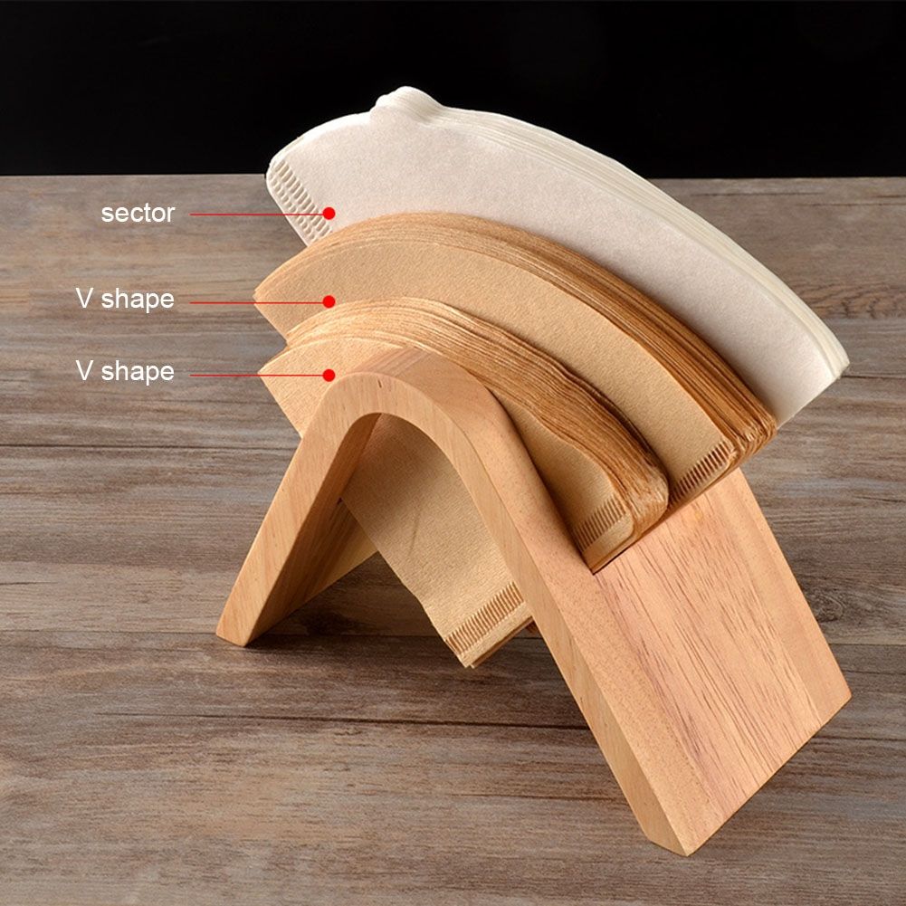 Coffee Filter Holder Coffee Storage Rack Filter Box Paper Base Bracket Display Stand Wooden V Holder