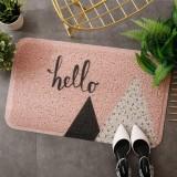 40x60cm Entrance Hall Carpet PVC Wire Loop Mat Door Mat Living Room Floor Non-slip Rug (Pink Hello)