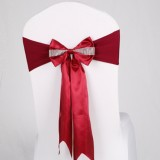 For Wedding Events Party Ceremony Banquet Christmas Decoration Chair Sash Bow Elastic Chair Ribbon Back Tie Bands Chair Sashes (Wine Red)