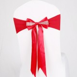 For Wedding Events Party Ceremony Banquet Christmas Decoration Chair Sash Bow Elastic Chair Ribbon Back Tie Bands Chair Sashes (Light Wine Red)