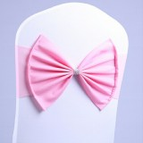 Spandex Chair Sash fit all chair Wedding Chair Sashes Bow Elastic Chair Ribbon Back Tie Bands for Wedding Party Ceremony Banquet (Pink)