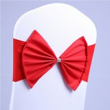 Spandex Chair Sash fit all chair Wedding Chair Sashes Bow Elastic Chair Ribbon Back Tie Bands for Wedding Party Ceremony Banquet (Red)