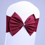 Spandex Chair Sash fit all chair Wedding Chair Sashes Bow Elastic Chair Ribbon Back Tie Bands for Wedding Party Ceremony Banquet (Wine Red)