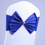 Spandex Chair Sash fit all chair Wedding Chair Sashes Bow Elastic Chair Ribbon Back Tie Bands for Wedding Party Ceremony Banquet (Royal Blue)