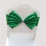 Spandex Chair Sash fit all chair Wedding Chair Sashes Bow Elastic Chair Ribbon Back Tie Bands for Wedding Party Ceremony Banquet (Dark Green)