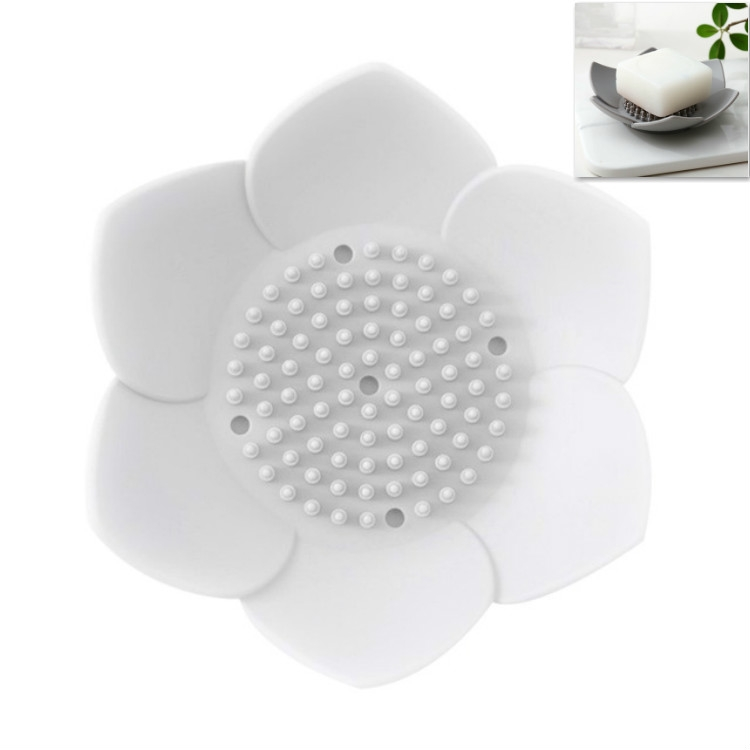 Silicone Drain Soap Bathroom Soap Box (White)