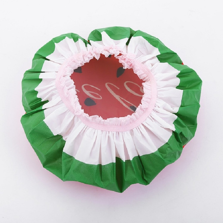 3 PCS Adult Lace Fruit Waterproof and Oily Shower Cap (Dragon fruit)