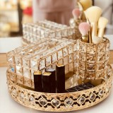 Light Luxury Crystal Lipstick Box Cosmetic Jewelry Box Crystal Pen Tissue Box Crystal Tray, Style: Tray+Pen Tray+Tissue Box (Crystal)