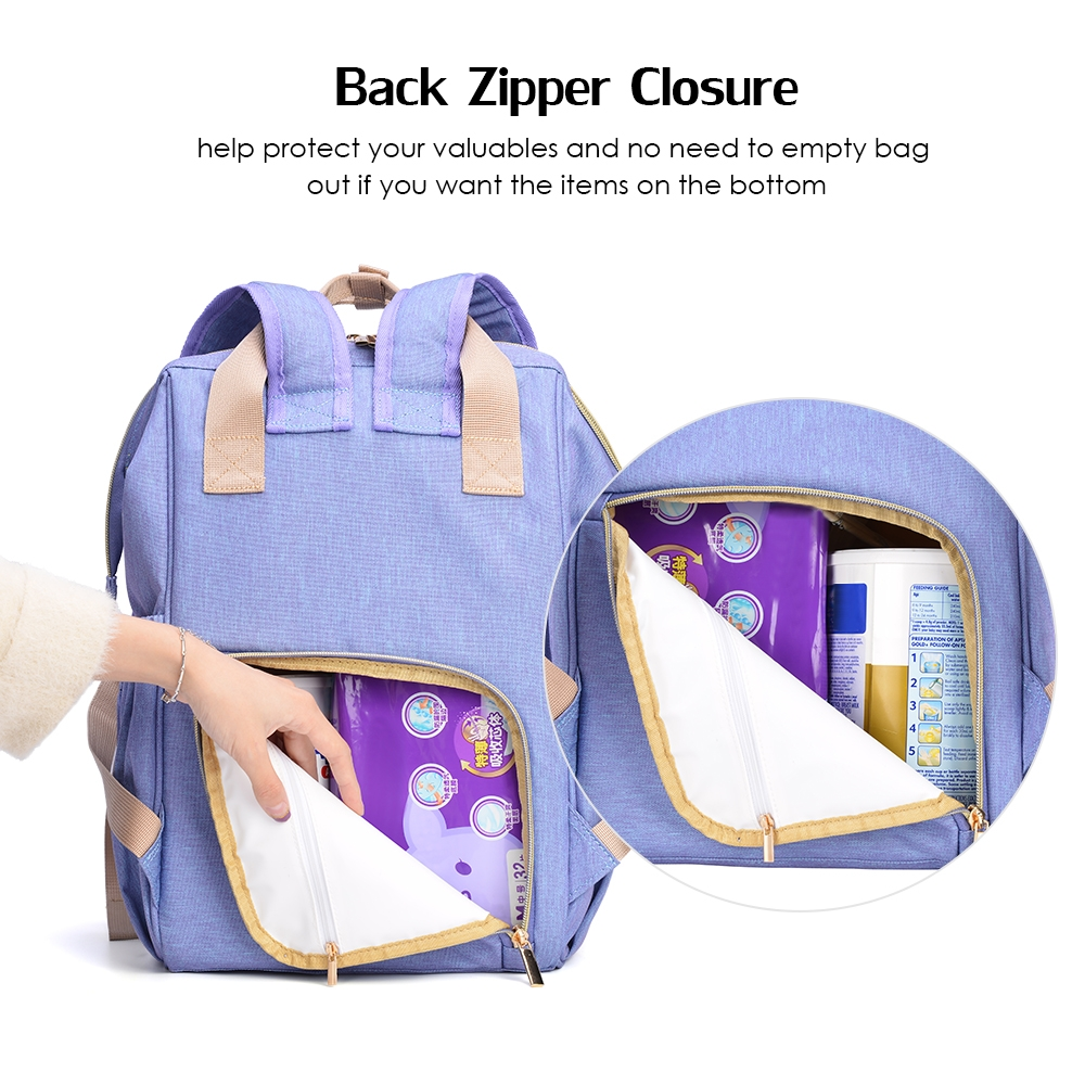 OSOCE Multi-function Mummy Bag Shoulder Large Capacity Storage Maternal and Child Package Light Simple Travel Bag (Light Purple)