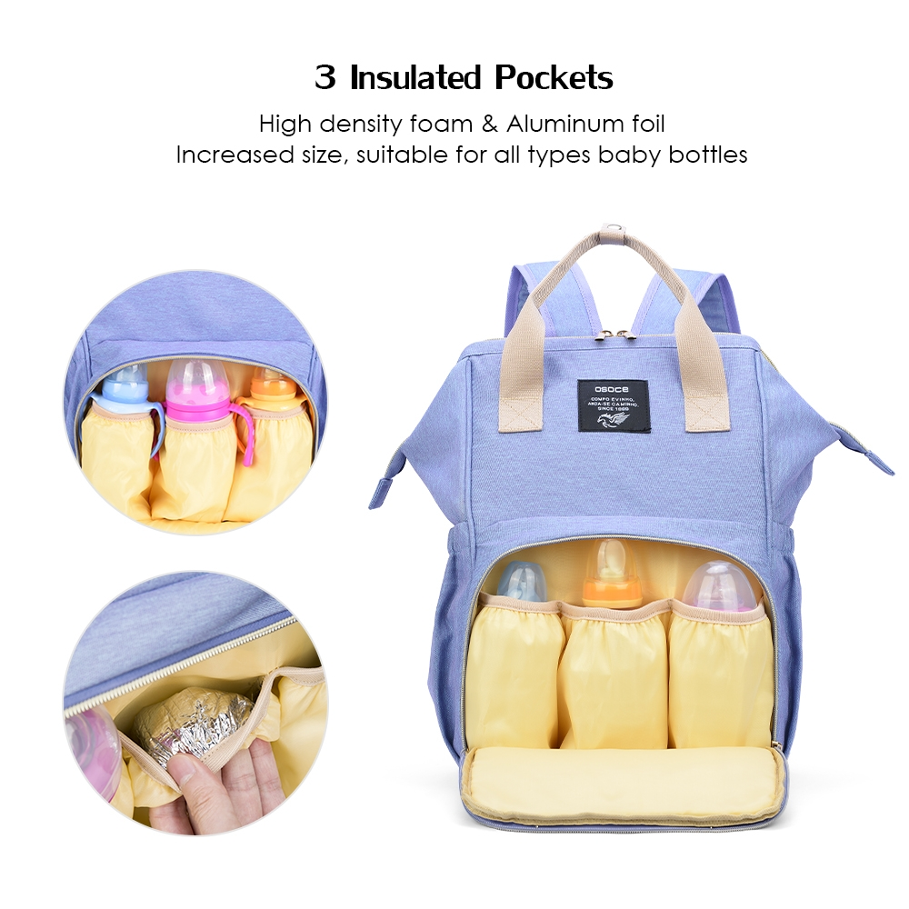 OSOCE Multi-function Mummy Bag Shoulder Large Capacity Storage Maternal and Child Package Light Simple Travel Bag (Deep Blue)