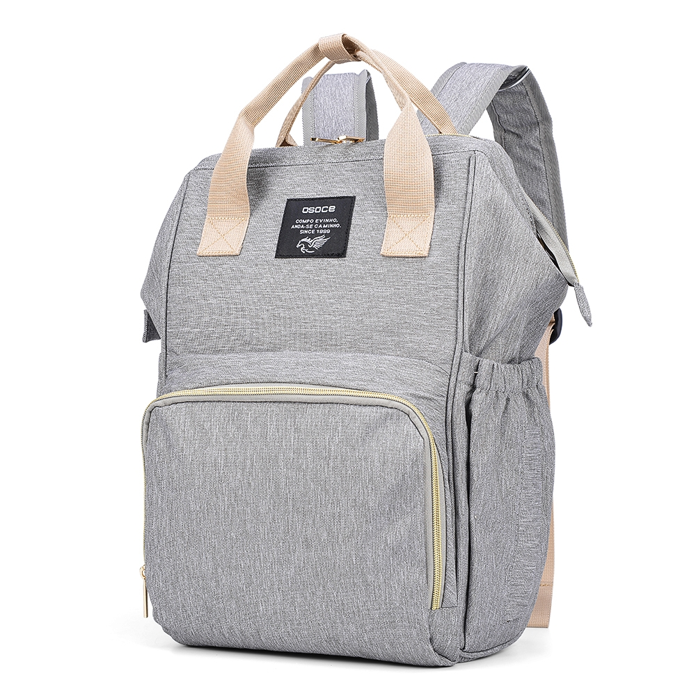 OSOCE Multi-function Mummy Bag Shoulder Large Capacity Storage Maternal and Child Package Light Simple Travel Bag (Deep Gray)
