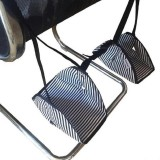 Foot Hammock Foot Pad for Long-distance Aircraft Travel (Black and White Stripes)