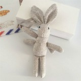 Plush Toy Wishing Rabbit Doll, Linen Scarf Long Foot Bag Bouquet Rabbit Doll, Height: 16-18cm (Gray)