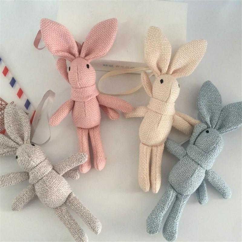 Plush Toy Wishing Rabbit Doll, Linen Scarf Long Foot Bag Bouquet Rabbit Doll, Height: 16-18cm (Gray)