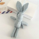 Plush Toy Wishing Rabbit Doll, Linen Scarf Long Foot Bag Bouquet Rabbit Doll, Height: 16-18cm (Light Blue)
