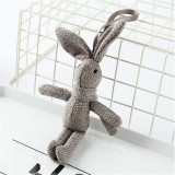 Plush Toy Wishing Rabbit Doll, Linen Scarf Long Foot Bag Bouquet Rabbit Doll, Height: 16-18cm (Dark Gray)