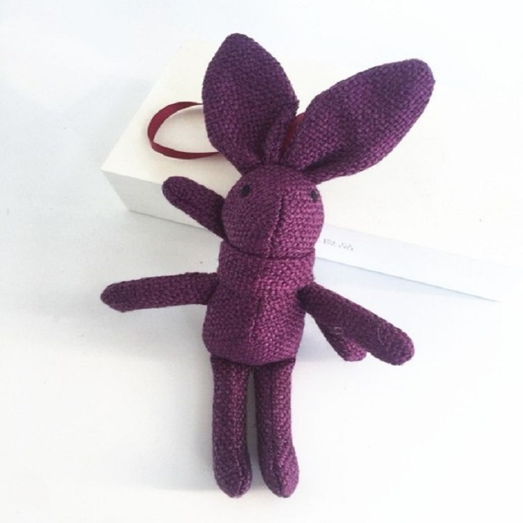 Plush Toy Wishing Rabbit Doll, Linen Scarf Long Foot Bag Bouquet Rabbit Doll, Height: 16-18cm (Purple)