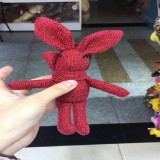Plush Toy Wishing Rabbit Doll, Linen Scarf Long Foot Bag Bouquet Rabbit Doll, Height: 16-18cm (Red)