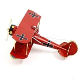 Home Decoration Ornaments Wrought Iron Crafts Retro Old Aircraft Model (Red)