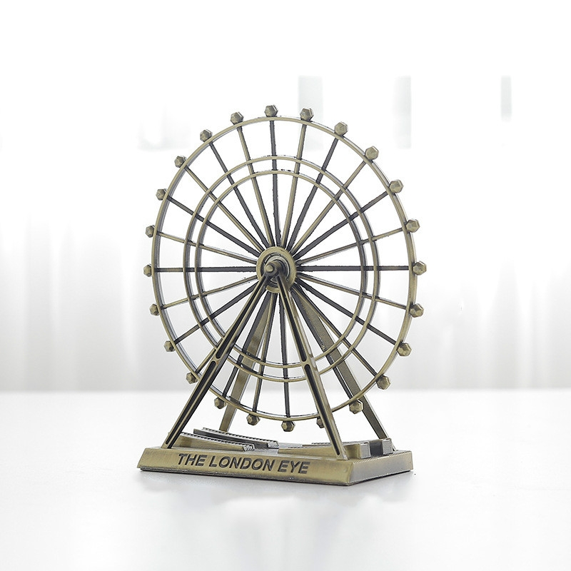 Wrought Iron Ferris Wheel Ornaments Home Living Room Metal Crafts Decorations (Bronze)