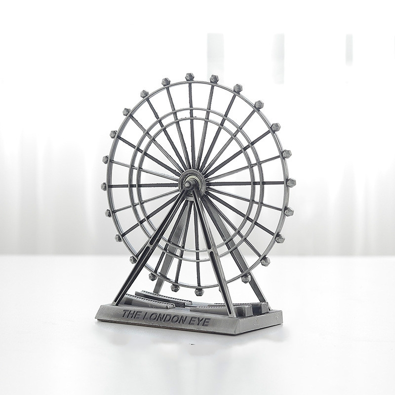 Wrought Iron Ferris Wheel Ornaments Home Living Room Metal Crafts Decorations (Ancient Silver)