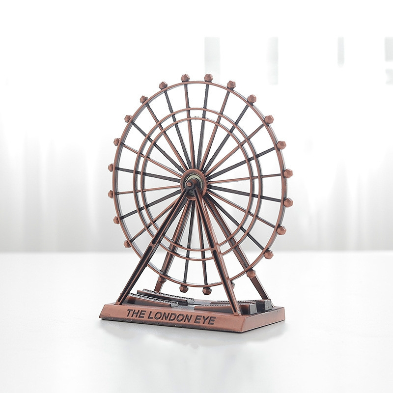 Wrought Iron Ferris Wheel Ornaments Home Living Room Metal Crafts Decorations (Red Copper)