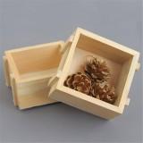 Spot Square Log Small Storage Box Home Creative Desktop Debris Sorting Wooden Storage Box (Square Flower)
