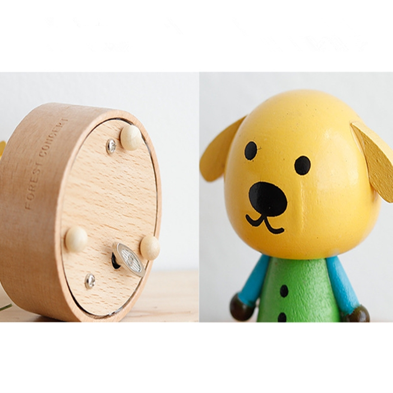 Wooden Music Box Music Boxmini Cute Pet Decoration Children Holiday Gifts (Blue Clothes Puppy)