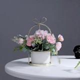 Wrought Iron Portable Frame Hydrangea Flower Pot Decoration Ornaments Home Study Office Wedding Decoration (Light Pink)