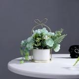 Wrought Iron Portable Frame Hydrangea Flower Pot Decoration Ornaments Home Study Office Wedding Decoration (Light Green)
