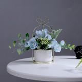 Wrought Iron Portable Frame Hydrangea Flower Pot Decoration Ornaments Home Study Office Wedding Decoration (Light Blue)